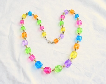 Multicolor Beaded Necklace Vintage Lucite Square Chunky Beads Colorful Pink Blue Purple Green Yellow