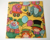 Vintage 1970's Any Occasion Birthday Gift Wrap Circus Clowns Elephants Wrapping Paper