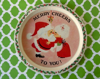 Vintage 1960s Party Serving Tray Christmas Tray Decoration Santa Claus Mrs Claus Kissing