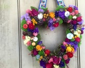 Handmade colorful dried flower heart wreath with vintage buttons and ribbon. Made and ready to ship. For your Valentine.