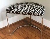 Chrome, Vintage, MOD, Industrial, Bench, Stool, Ottoman