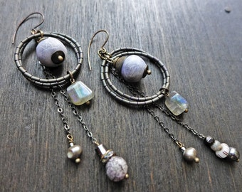 Petrous. Gray handmade earrings with polymer art beads and labradorite dangles.