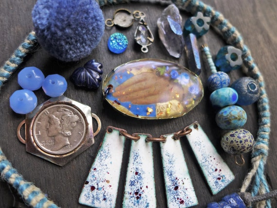Blue Necklace Inspiration Kit. Rustic resin bezel, mix lot assortment.