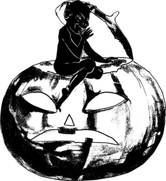 "black devil jacko lantern halloween pumpkin clipart png clip art stamp Digital graphics Image Download wall art printables 5.5"" x 5"" inches"