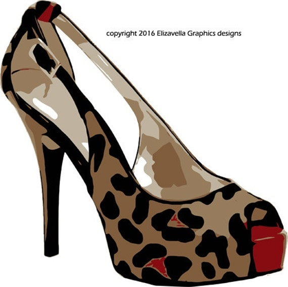 leopard high heel womans shoe clip art png digital image download beauty fashion art printables