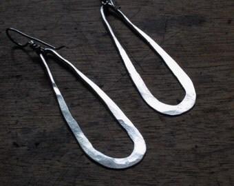 Long Sterling Silver Teardrop Earrings - Gypsy Chic and Rustic - Dangle Earrings