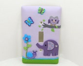Elephant, Owl, Snail, Butterfly Light Switch or Outlet Cover - Purple, Turquoise, Green - Elephant Nursery - Clay - Toggle or Rocker Cover