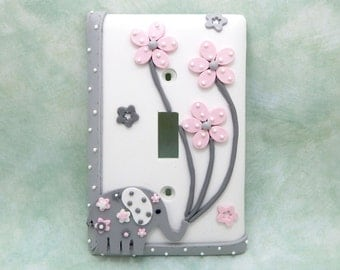 Elephant and Flowers Light Switch Cover or Outlet Cover - Gray, White, Pink - Elephant Nursery, Girl's Elephant Decor