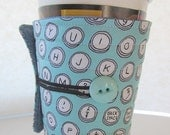 Winter Clearance cup cozy, coffee cup sleeve cosy, fabric, quilted: Typewriter keys aqua blue