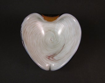 Vintage Murano Heart Shaped Art Glass Bowl Ivory Interior with Metallic Swirl Encased in Amber Glass Italian Art Glass