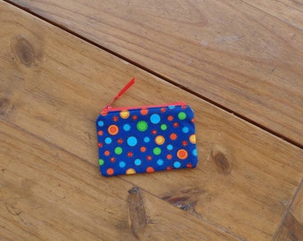 Zippered Credit Card Pouch in a Multicolored Dots on Royal Blue Print