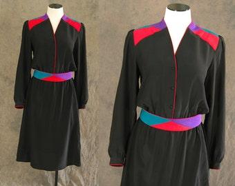 vintage 80s Silk Dress - Black Avant Garde Dress 1980s Quilted Colorblock Silk Dress Sz M