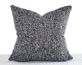 Black White Herringbone Pillow Cover, Black White Pillow, Wool Textured Pillow, PillowThrowDecor, Tweed Throw Pillows, 12x18, 18x18, 20x20