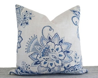 White Blue Floral Pillows for Couch, Jacobean Floral Pillow,  Decorative Throw Pillows, Country Home Decor, Lumbar 12x20, 18x18