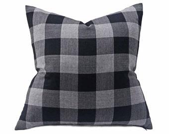 Wool Buffalo Plaid Pillow Cover, Black Grey Wool Pillow, Buffalo Check Plaid Cushions, Country Lodge, Mens Home Decor, 12x20, 18x18, 20x20