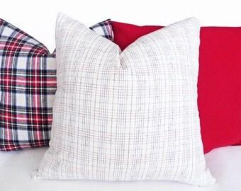 White Plaid Pillow Covers, White Throw Pillows, Cream Pillow, Cream Red Blue Cushion, Plaid Pillows, Country Decor, 14x20 Lumbar, 20x20 inch