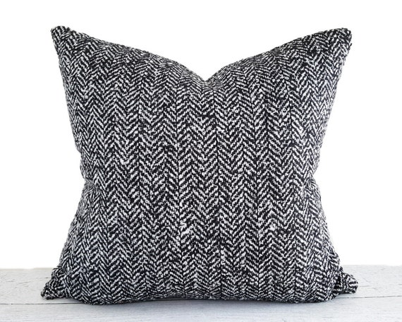 Black White Herringbone Pillow Cover Black White Pillow Wool