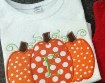 Pumpkin Trio Appliqued Shirt  Fall, Thanksgiving, Halloween