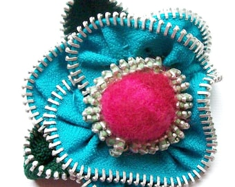 Turquoise and Rose Floral Brooch / Felted Zipper Pin by ZipPinning 2599