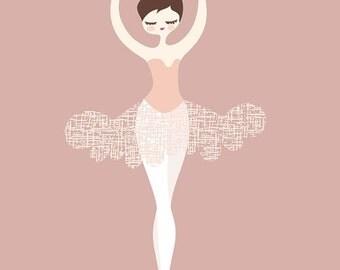 "SHOPWIDE SALE 11X14"" ballerina en pointe giclée print on fine art paper. dusty mauve pink, magenta, brunette, caucasian."
