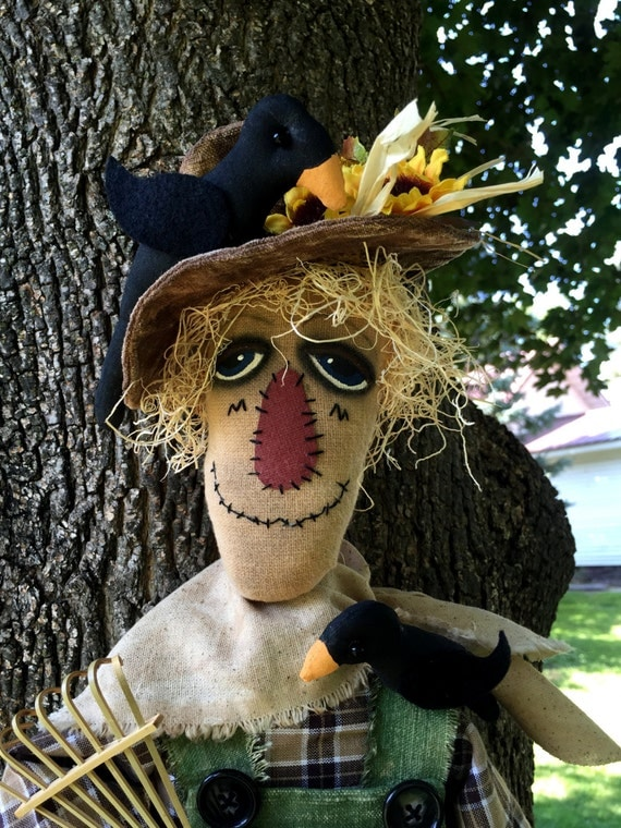Handmade Primitive Folk Art Scarecrow Doll
