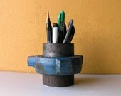 Blue Pencil Holder, Metal Pen Holder, Industrial Pipe, Upcycled Pipe, Desk Accessories for men, Boyfriend gift, Makeup brush holder,coworker