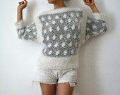 ON SALE French Vintage Fury Black White Dots Sweater