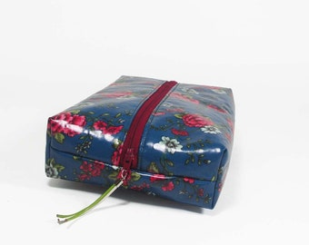 Laminated Floral Cosmetic Pouch