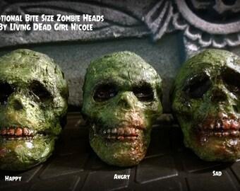 Bite Size Undead Decayed Creepy Scary Halloween Horror Zombie Head Prop Decorations - Handmade Dark Art