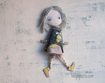 Little Girl and Bunny, Art doll brooch, gift for her