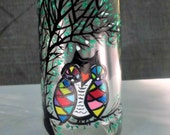 Dish Soap Dispenser,  Recycled Clear Beer Bottle, Painted Glass, Oil and Vinegar Bottle, Colorful Owl in Tree