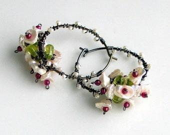 Heart Sale White Keishi Pearl Earrings, Pearl Garnet Peridot Flower Bouquet, Dark Sterling Hoop Earrings, Flower Vines, Nature Fashion
