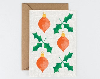 Christmas Holly and Baubles Card