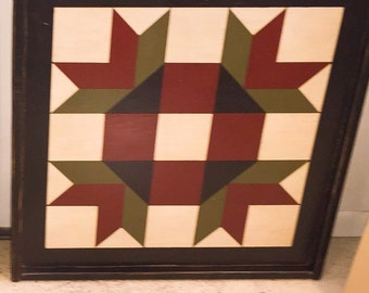 PriMiTiVe Hand-Painted Barn Quilt, Small Frame 2' x 2' - Goose Tracks Pattern