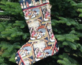 Handmade Christmas Stocking Jesus Birth Nativity Scene