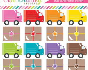 Delivery Trucks and Packages Clipart Holiday Clip Art Graphics Gifts Shopping Shipping for Christmas Personal & Commercial Use
