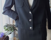 Vintage JAEGER black suit Pure New Wool made in Great Britain Silver Tone 7 buttons on jacket