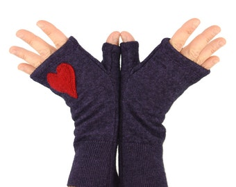 Fingerless Gloves in Twilight Purple with Red Heart - Recycled Merino Wool