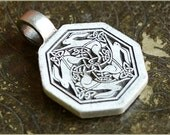 Celtic Hare rabbit Ostara stainless steel pendant celtic knot - supplies and vintage lot