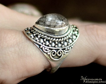 Tourmalined quartz sterling silver ring 925 crystal - gemstone vintage jewelry