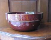 """Antique Brown Primitive Large Pottery Bowl 10 5/8"""""""