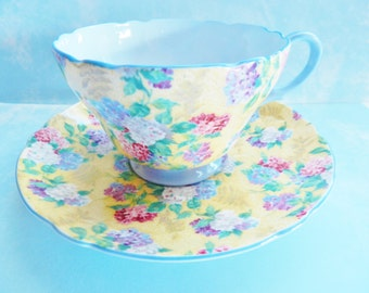 Shelley Summer Glory Teacup, Shelley Summer Glory Tea Cup, Shelley Chintz Teacup, Shelley Blue Tea Cup, 1930s Shelley Teacup, No S55
