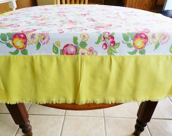 Yellow Fruit Tablecloth, Cottage Tablecloth, Fruit Tablecloth, Yellow Tablecloth