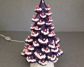"""sale  Ceramic CHRISTMAS TREE  11"""" Purple and Pink with snow a holiday decoration #PPS"""