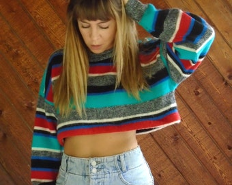 Striped Oversized Crop Knit Pullover Sweater - Vintage 80s - OS OSFM