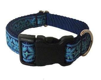 "3/4"" Blue Filigree Medium Dog Collar Buckle or Martingale"