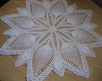 Crochet, table decor, pineapple doily, thread crochet, white, new, wedding decoration, unusual, ready to mail, made by Demet