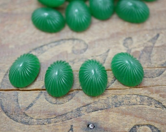 Glass Cabochon Art Deco Cabochon Jade Green Glass Cabochon 16x12mm (4)