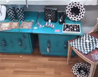 end tables teal