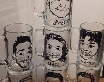 7pc, Toasting glasses, Wedding caricature, Groomsmen Gift, Wedding glassware, groomsmen caricature, custom Wedding Glass, Caricature mug